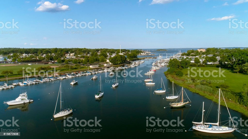 The aerial view to the yachts in the Marina in Mamaroneck, Westchester, New York, USA. stock photo