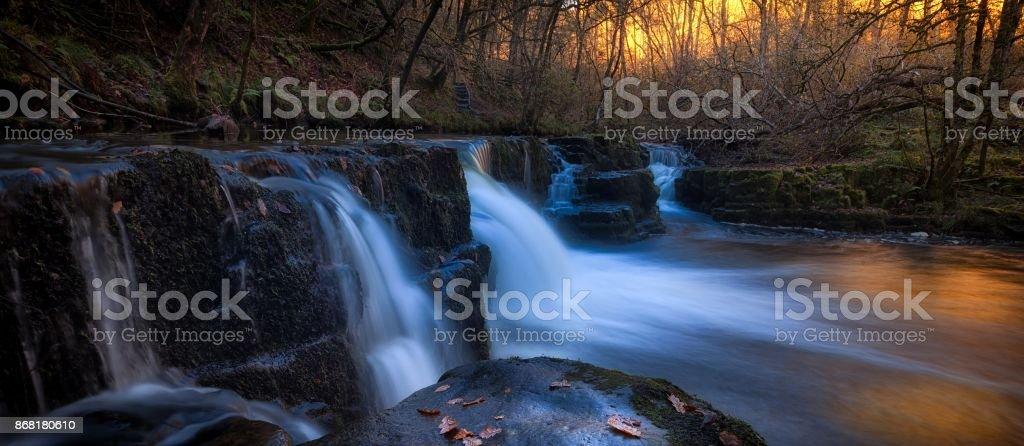 The Afon Pyrddin river near Pontneddfechan stock photo