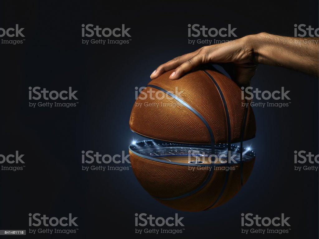 The african man basketball player standing with ball stock photo