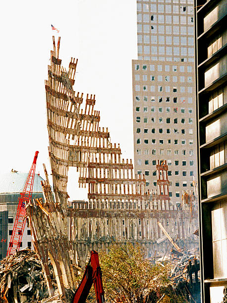 The aftermath of destruction on the World Trade Center NY stock photo