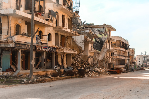 The aftermath of the war in Aleppo Syria. The Syrian Civil War is an ongoing multi-sided armed conflict in Syria fought between the Ba'athist Syrian Arab Republic led by President Bashar al-Assad, along with domestic and foreign allies, and various domestic and foreign forces opposing both the government and each other in varying combinations.