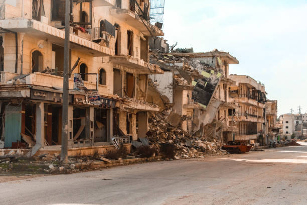 the aftermath of the war in aleppo syria - arruinado imagens e fotografias de stock