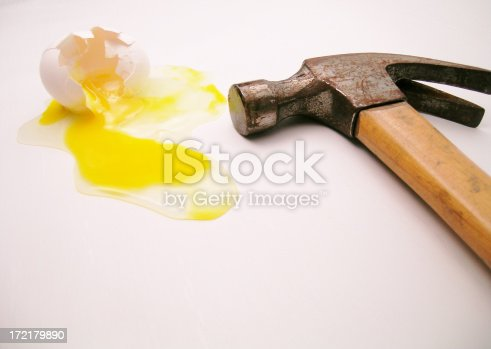 Egg smashed and hammer (slight over exposure intentional)