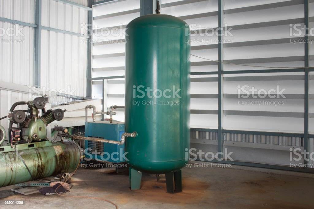The Air tank for Pneumatic System stock photo