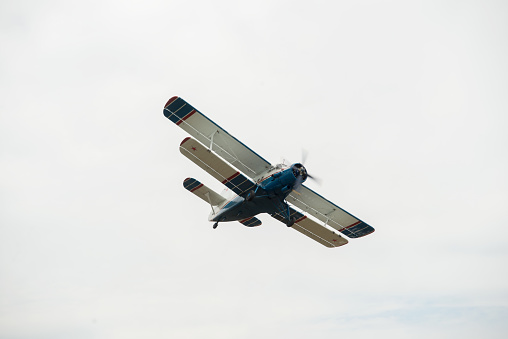 istock The aircraft in the cloudy sky. 1129620571