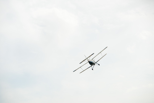 istock The aircraft in the cloudy sky. 1129620883