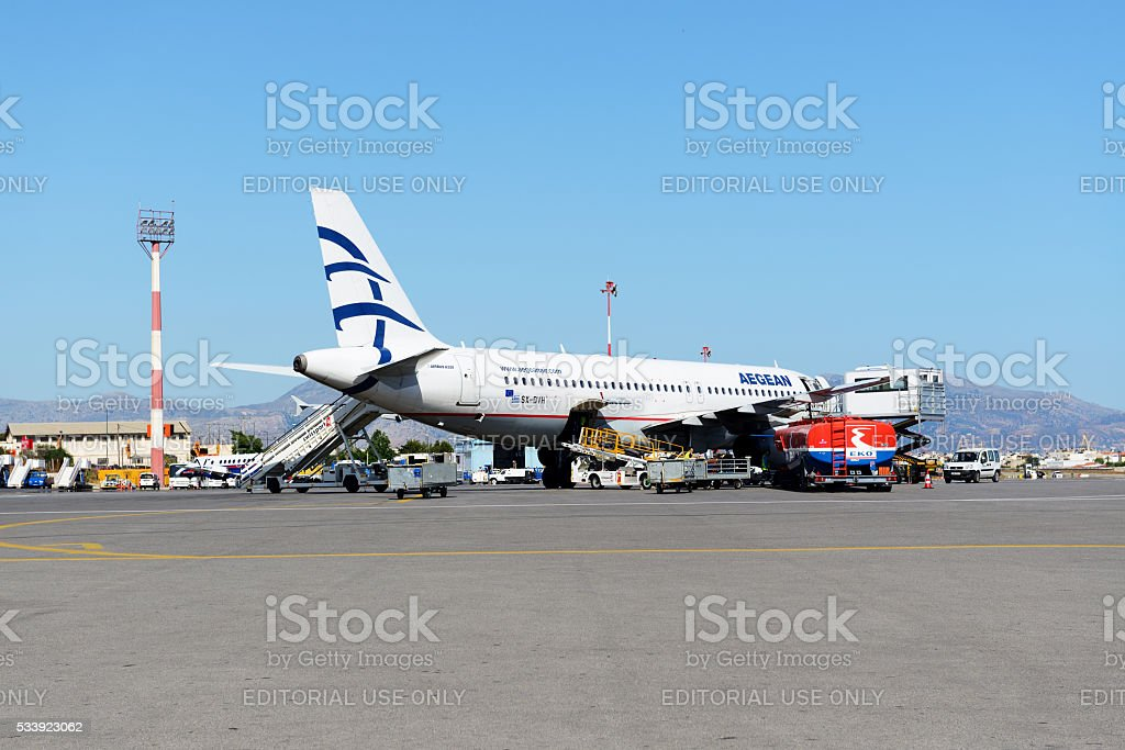 The aircraft of Aegean Airlines taking maintenance at Iraklion Airport stock photo