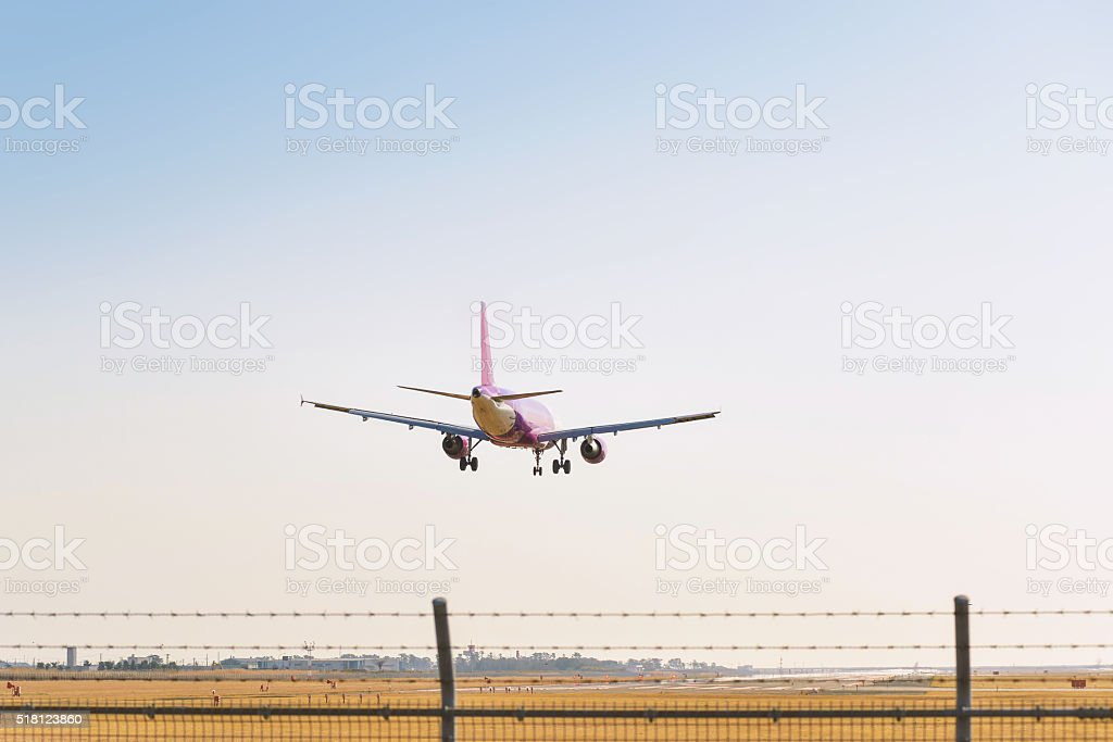 The aircraft which takes off and lands stock photo