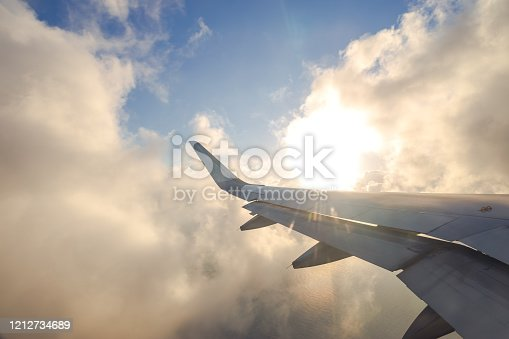 The airplane flew over the clouds