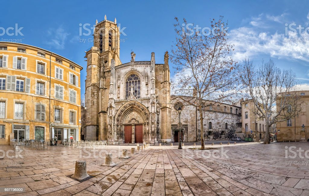 The Aix Cathedral in Aix-en-Provence, France stock photo