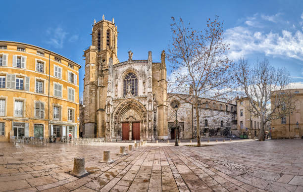 The Aix Cathedral in Aix-en-Provence, France The Cathedral of the Holy Saviour in Aix-en-Provence, Bouches-du-Rhone, France bell tower tower stock pictures, royalty-free photos & images