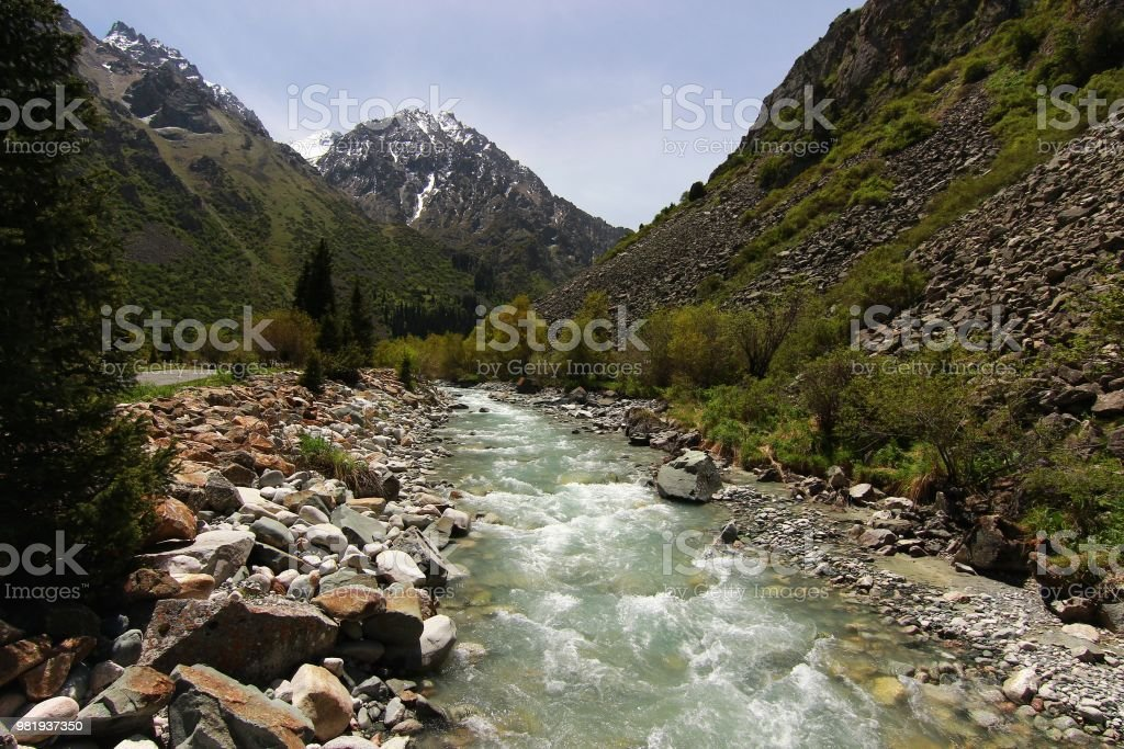 The Ala Archa National Park in the Tian Shan mountains of Bishkek  Kyrgyzstan stock photo