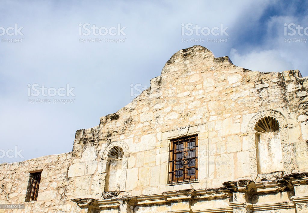 The Alamo Close Up with Clouds on Background stock photo