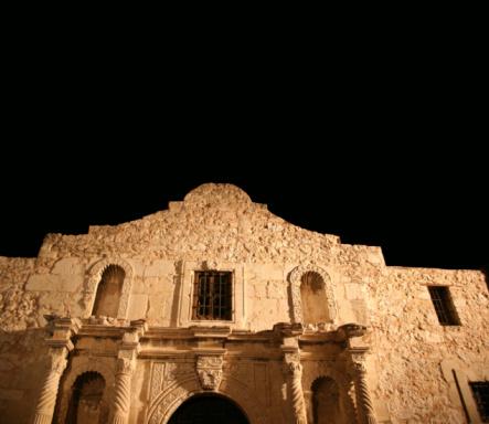 The Alamo in San Antonio, Texas at night