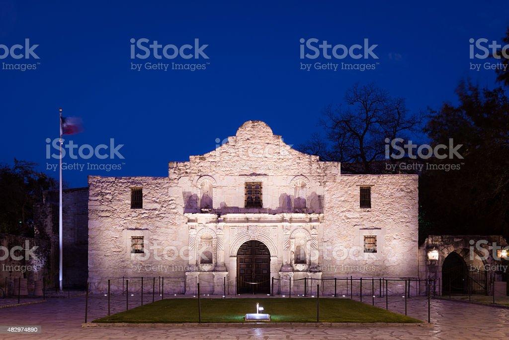 The Alamo in San Antonio, TX at night stock photo