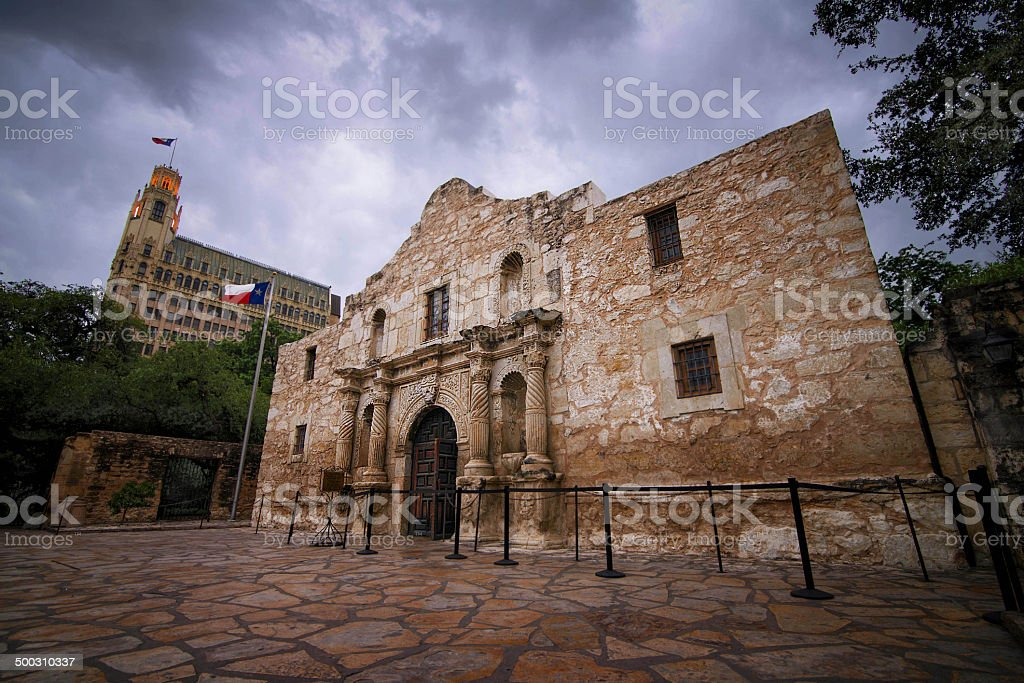 The Alamo on a cloudy day stock photo