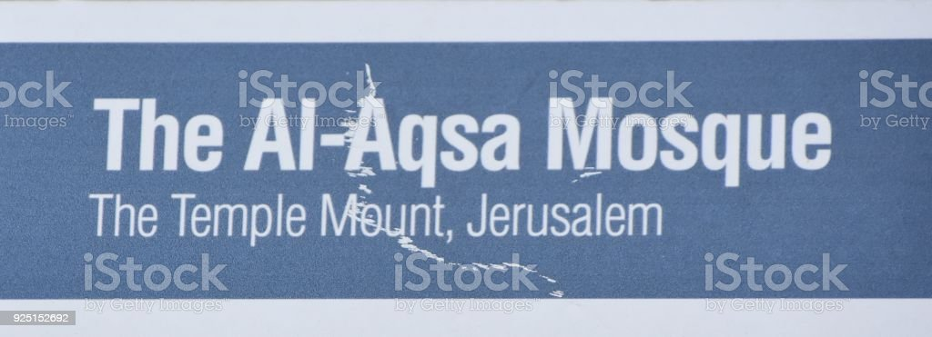 the Al-Aqsa Mosque-SIGN stock photo