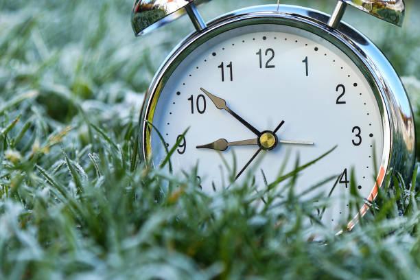 der wecker ist im gras mit frost bedeckt - last minute urlaub deutschland stock-fotos und bilder