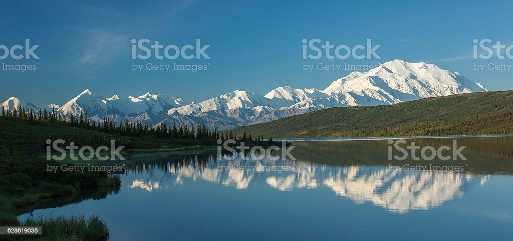 The Alaska Range reflected in Wonder Lake, Denali National Park stock photo