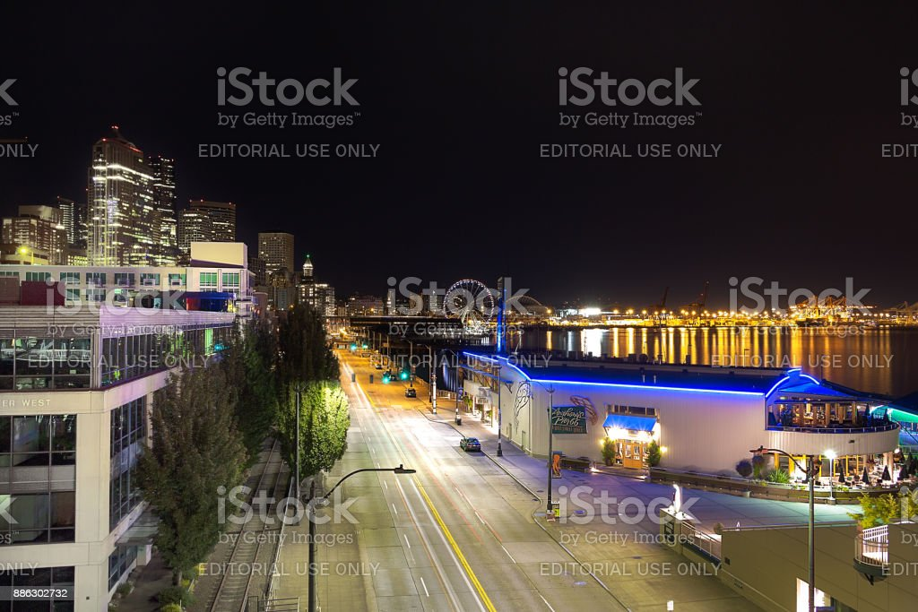 The Alaskan way at Bell Harbor Marina. stock photo