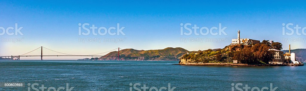 The Alcatraz and Golden Gate stock photo