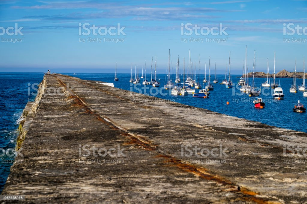 The Alderney Breakwater and Braye Harbour, Alderney, Guernsey, Channel Islands stock photo