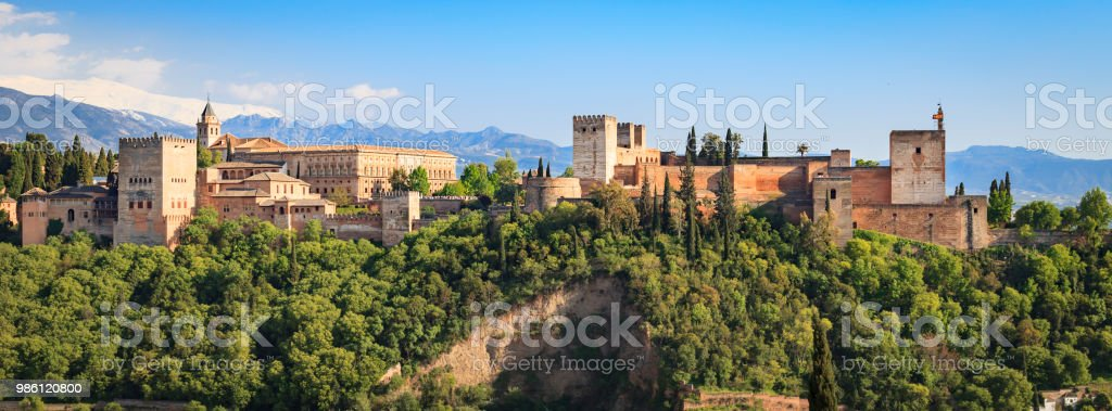 The Alhambra in Granada, Spain. Viewed from the Mirador de San Nicol stock photo
