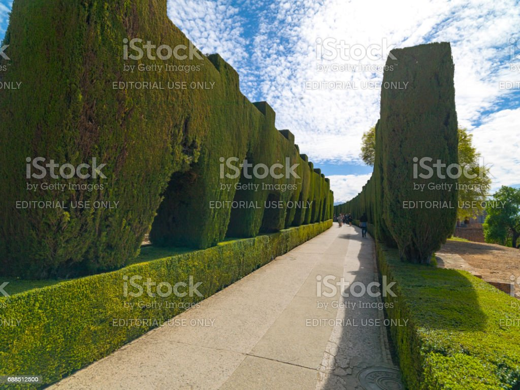 The Alhambra Palace and complex in Granada, Andolusia,Spain. April 4,2015 stock photo