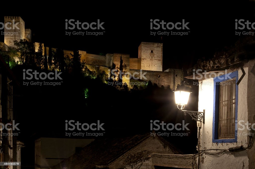 The Alhambra Palace at night from the Albayzin royalty-free stock photo