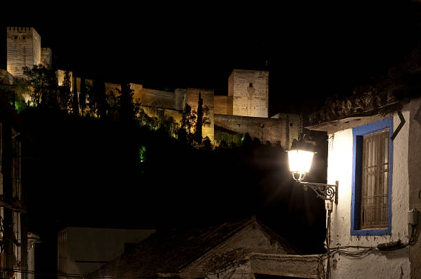 The Alhambra Palace at night from the Albayzin stock photo