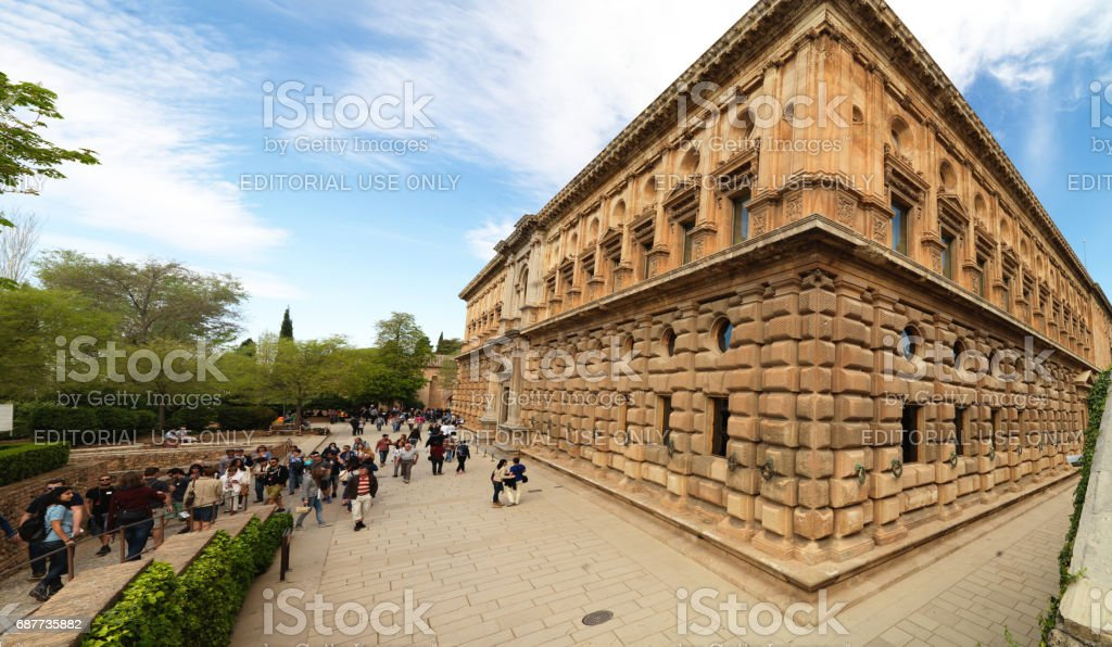 The Alhambra Palace in Granada, Andalusia, Spain. April 4, 2015 stock photo