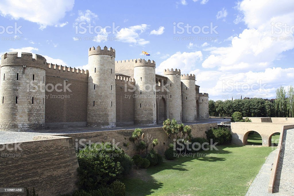 The Aljaferia  palace in Zaragoza. 11th century Islamic. stock photo