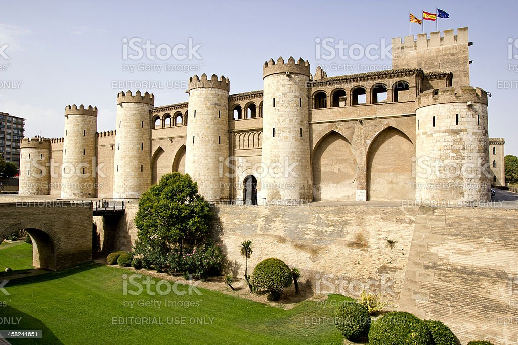 The Aljaferia palace in Zaragoza stock photo