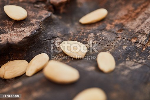 Shot of almonds on a table