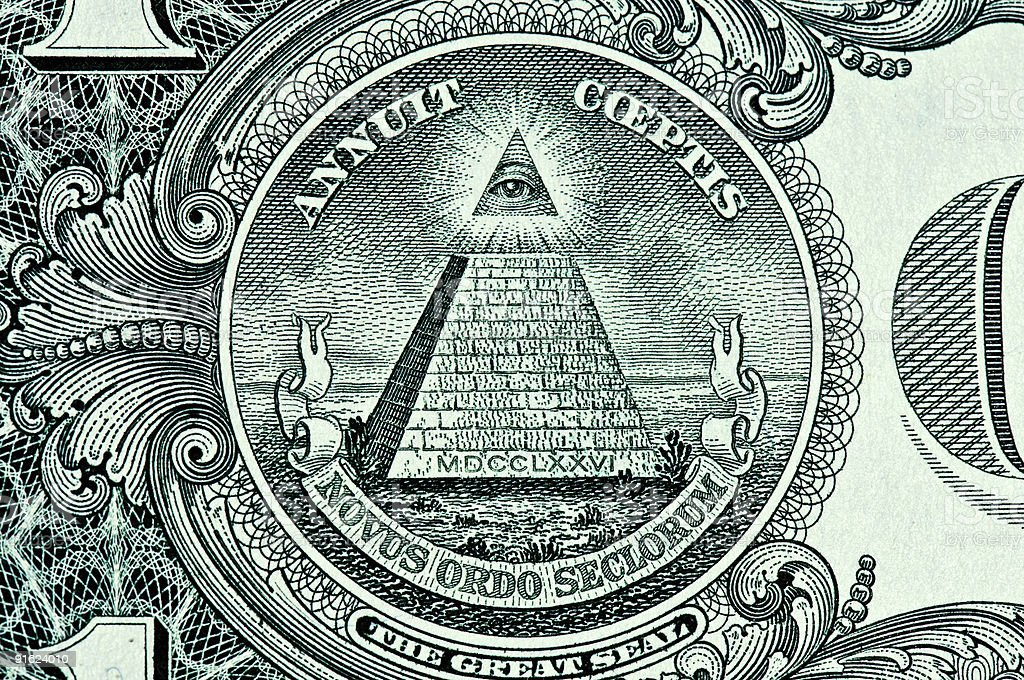 The all seeing eye on the back of a dollar bill stock photo