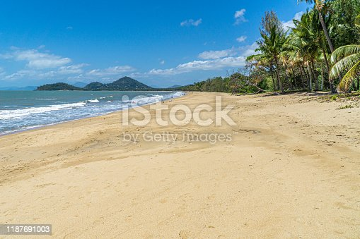 The almost deserted beach of Clifton beach near Cairns in the north of Australia