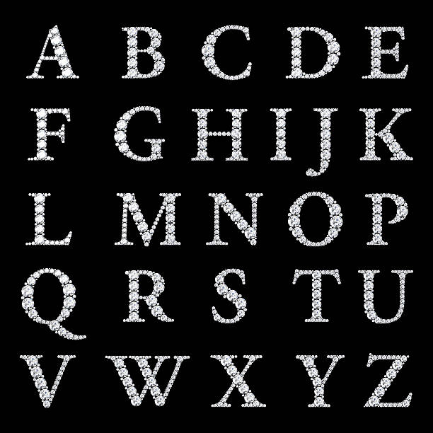 the alphabet letters made from diamonds - stone font stock photos and pictures