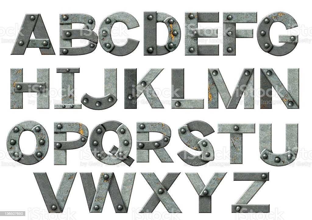 The alphabet made up from steel pieces and rivets royalty-free stock photo