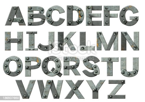 istock The alphabet made up from steel pieces and rivets 136507650