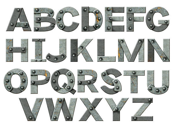the alphabet made up from steel pieces and rivets - typescript stock pictures, royalty-free photos & images