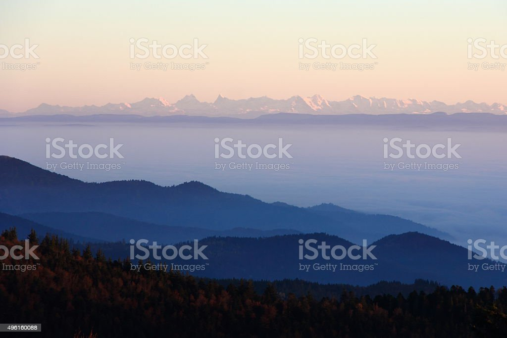 The Alps from the Vosges stock photo