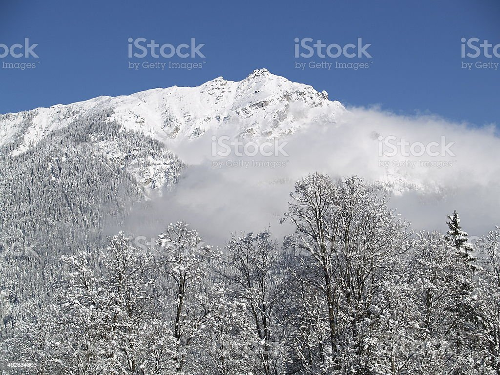 Die Alpen im Nebel stock photo