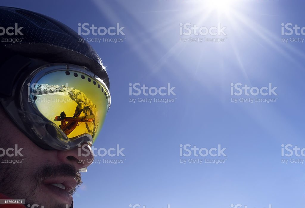 The Alps on my glasses stock photo