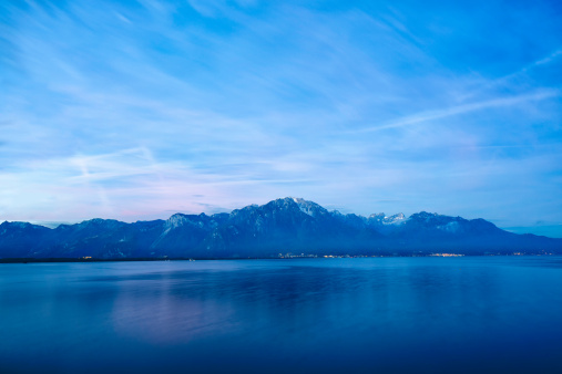 The Alps over Lake Geneva at dawn