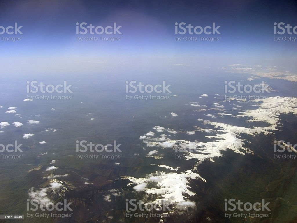 The Alps Alps view from the eleven kilometers height European Alps Stock Photo