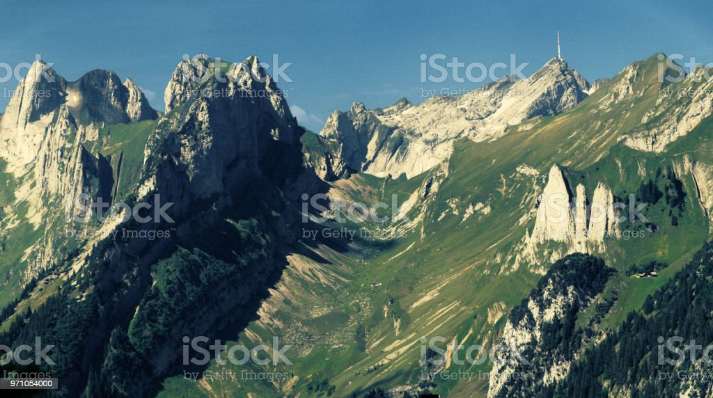 The Alpstein viewed from the Hoher Kasten stock photo