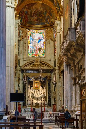 Genoa, Italy - Apr 17, 2019: Altar in the Cattedrale di San Lorenzo