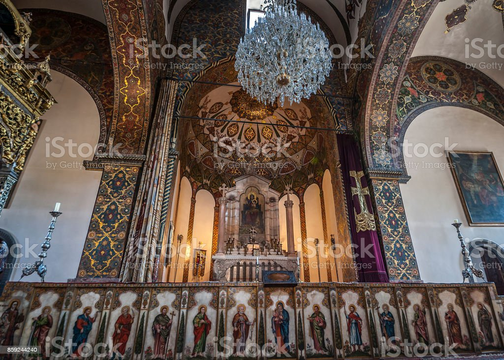 The altar of the Etchmiadzin cathedral. stock photo