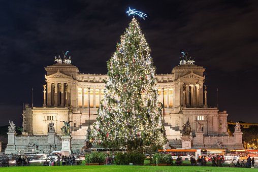 The Altare della Patria at Christmas in Rome, Italy