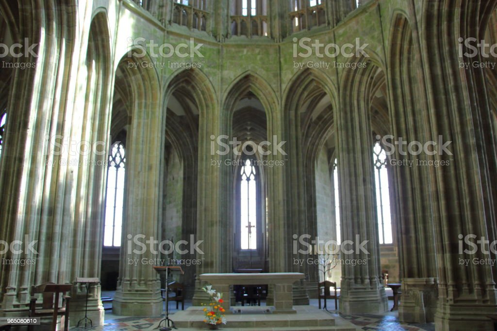 The Alter in The Cathedral Alter at Mont Saint-Michel, France royalty-free stock photo